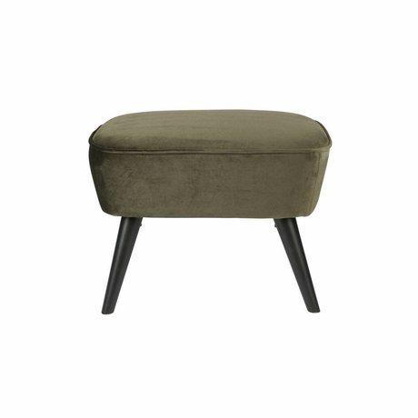 LEF collections Stool on legs warm green velvet polyester 36x56x41cm