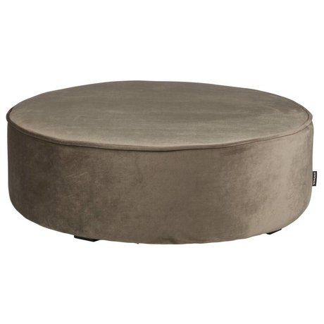 LEF collections Sara round xl stool low velvet olive gold