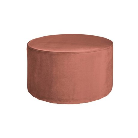 LEF collections Sara ronde tabouret bas velours vieux rose