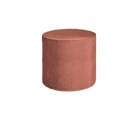LEF collections Sara ronde tabouret haut vieux velours rose