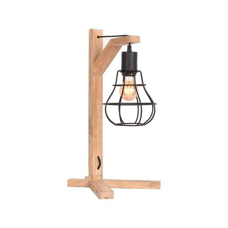 LEF collections Table lamp licorice black natural metal wood 29x34x53cm