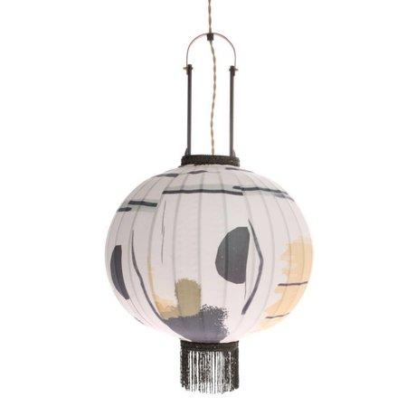 HK-living Lantern brush multicolored bamboo fabric M Ø38x51cm