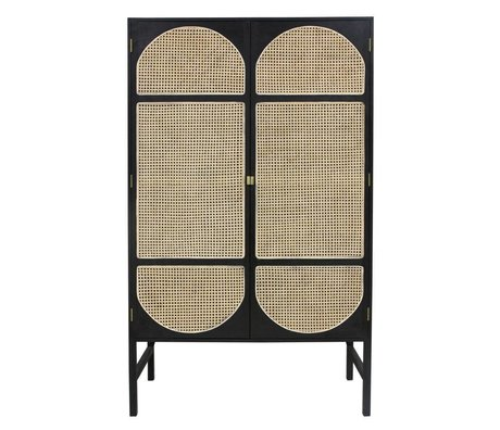 HK-living Armario armario correas retro caña de madera negra 125x40x200cm