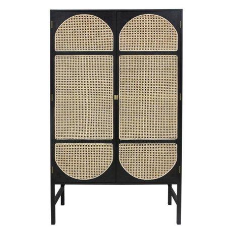 HK-living Armadio guardaroba Retro tessitura canna di legno nera 125x40x200cm