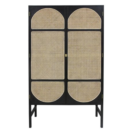 HK-living Wardrobe cabinet Retro webbing black wood reed 125x40x200cm