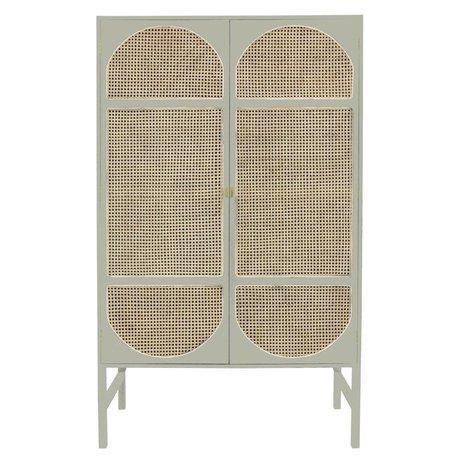 HK-living Armario armario retro correas gris claro caña de madera 125x40x200cm