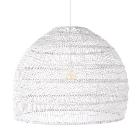 HK-living Lámpara colgante globo tejido a mano blanco tubo Ø80x60cm