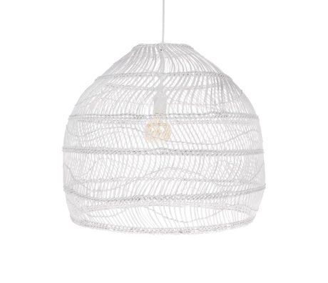 HK-living Lampe suspension boule tissée à la main blanc roseau M Ø60x50cm