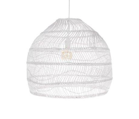 HK-living Pendant lamp ball handwoven white reed M Ø60x50cm