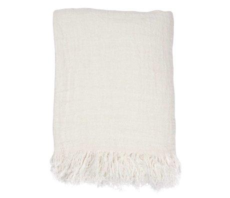 HK-living Copriletto lino bianco 270x270cm