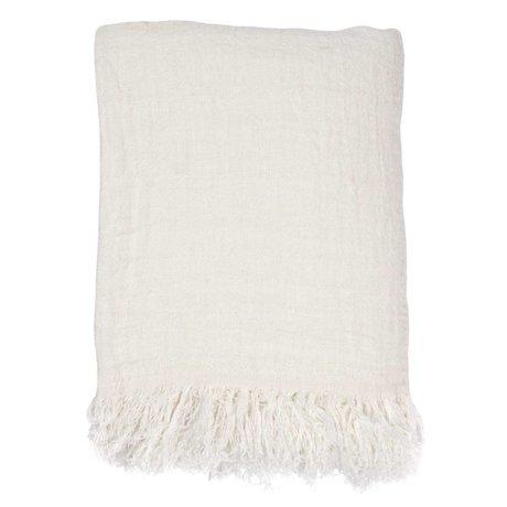 HK-living Sengetæppet hvidt linned 270x270cm