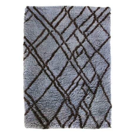 HK-living Tæppe Berber blå grå uld 180x280cm