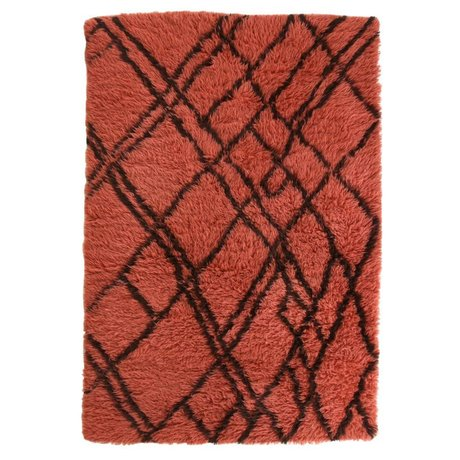HK-living Carpet Berber red wool 120x180cm