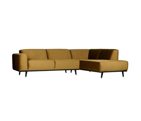 BePureHome Corner sofa statement right honey yellow velvet 274x210x77cm