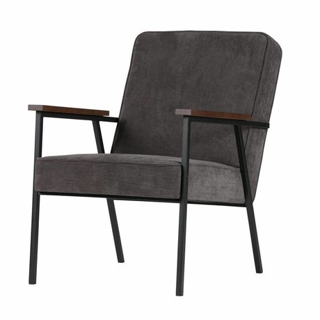 LEF collections Armchair Sally anthracite gray ribbed fabric 60x73x70cm