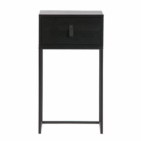 LEF collections Zola nightstand with drawer black