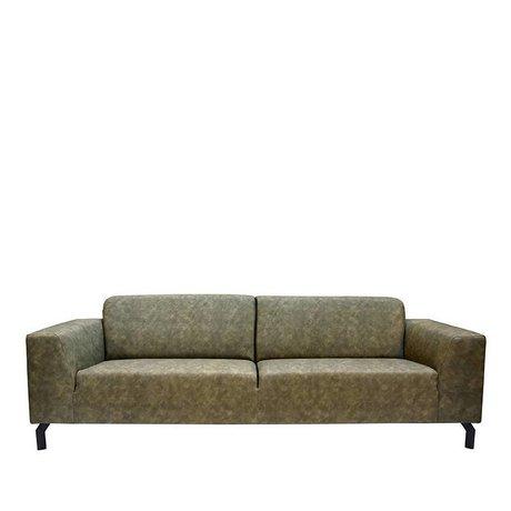 LEF collections Sofa Harlem 4-stellig Armee groen Buffalo Leder 90x250x80cm
