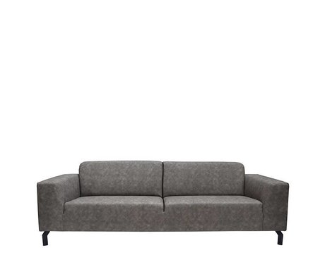 LEF collections Sofa Harlem 4-sæders antracit grå bøffel læder 90x250x80cm