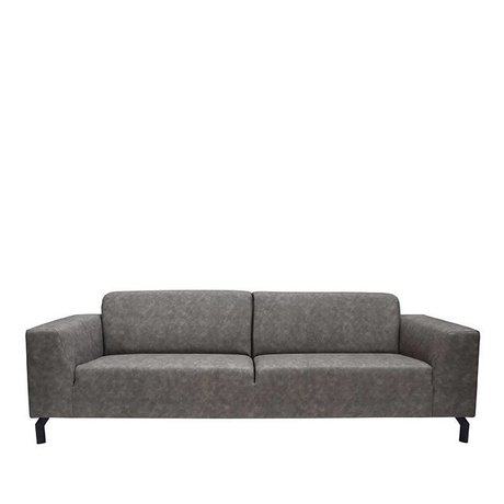 LEF collections Sofa Harlem 4-seater anthracite gray buffalo leather 90x250x80cm