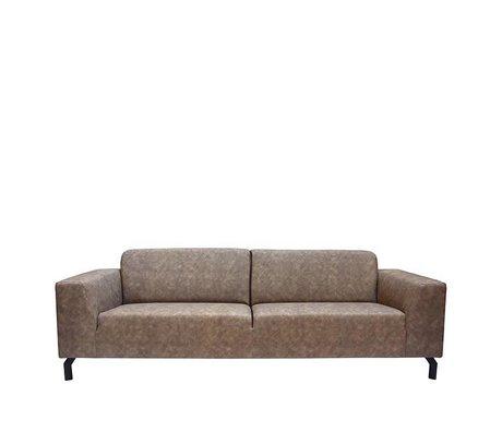 LEF collections Sofa Harlem 4-sæders stengrå bison læder 90x250x80cm