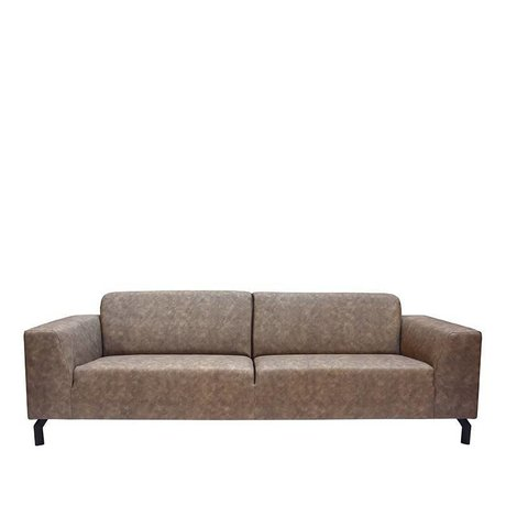 LEF collections Sofa Harlem 4-seater stone gray bison leather 90x250x80cm