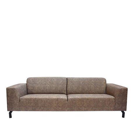 LEF collections Sofa Harlem 4-Sitzer Steingrau Bisonleder 90x250x80cm