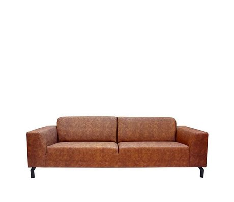 LEF collections Sofa Harlem 4-seater cognac brown buffalo leather 90x250x80cm