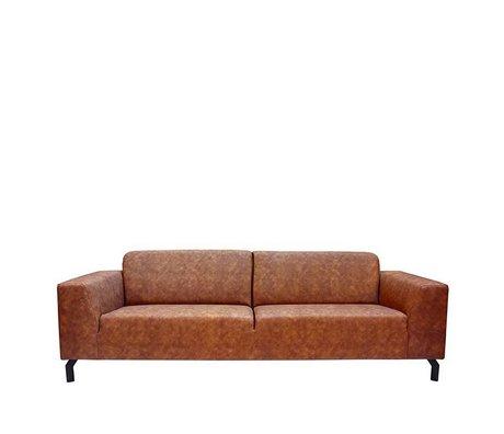 LEF collections Sofa Harlem 4-Sitzer Cognac braunes Büffelleder 90x250x80cm