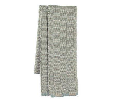 OYOY Te håndklæde Stringa blå kamelbrun bomuld 38x58cm