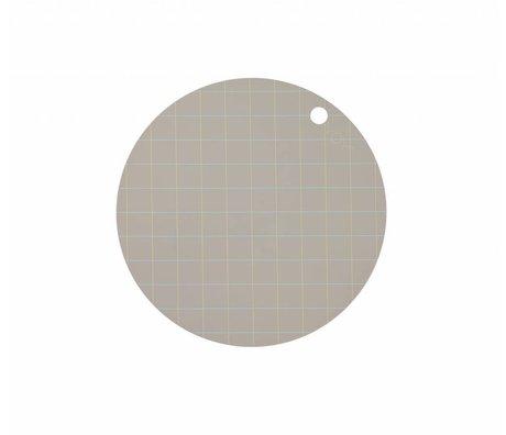 OYOY Placemat Hokei grå silikone Ø39x0,15cm sæt med 2