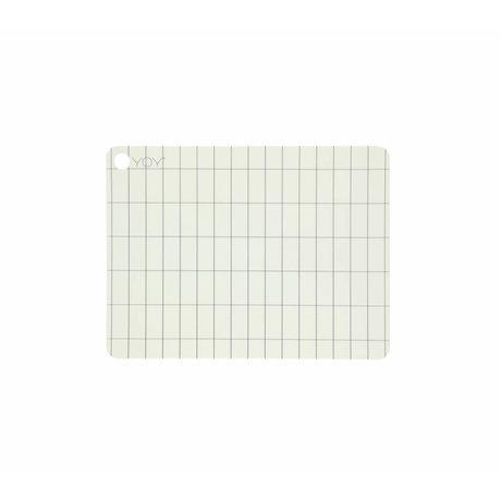 OYOY Mantel individual Kukei hecho de silicona blanca 45x34x0,15cm juego de 2