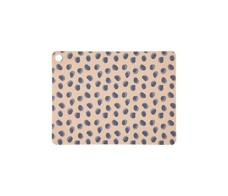 OYOY Mantel individual puntos de leopardo marrón camel 45x34x0,15cm juego de 2