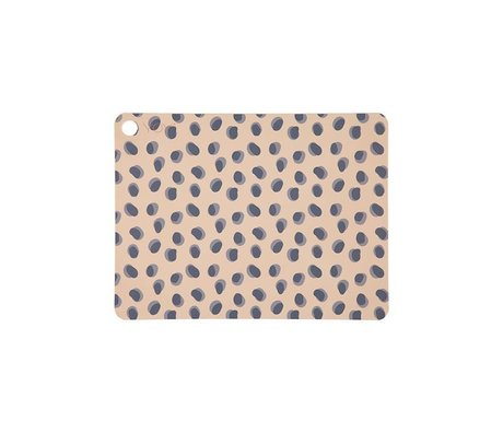 OYOY Set de 2 points Leopard points brun camel en silicone 45x34x0,15cm