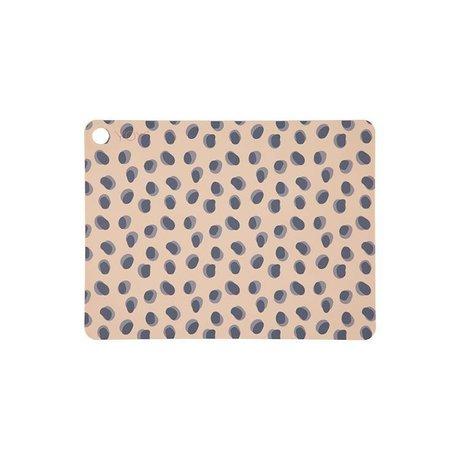 OYOY Placemat Leopard punkter kamelbrunt silikone 45x34x0,15cm sæt med 2
