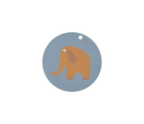OYOY Tovaglietta elefante rotonda blu giallo silicone Ø39x0,15cm