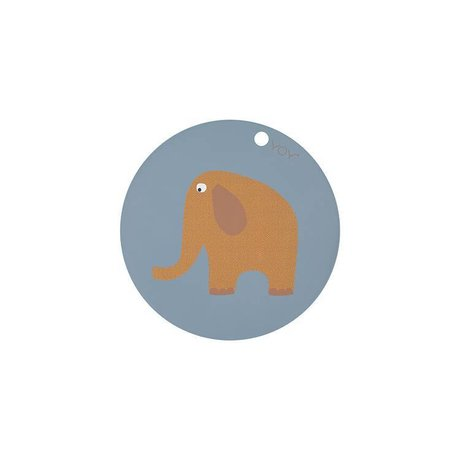 OYOY Placemat elefant runde blå gul silikone Ø39x0,15cm