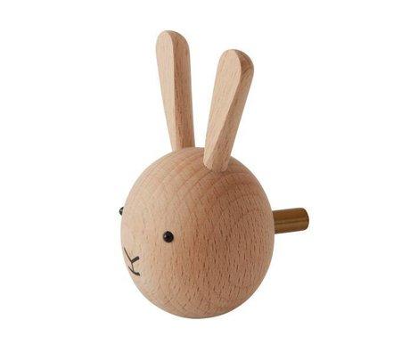 OYOY Wall hook Rabbit natural wood ø4,5x6x4,5cm
