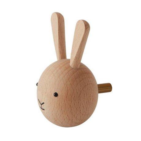 OYOY Gancho de pared Conejo madera natural ø4,5x6x4,5cm