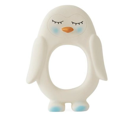 OYOY Bite toy penguin white natural rubber 10x2,5x13cm
