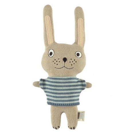 OYOY Knuffel Baby Rabbit Félix multicolore en katoen 26x20cm