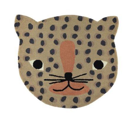 OYOY Alfombra leopardo caramelo marrón algodón 84x94cm