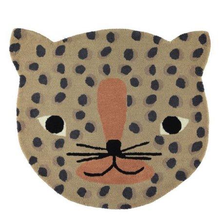 OYOY Tappeto Leopard caramello marrone in cotone 84x94cm