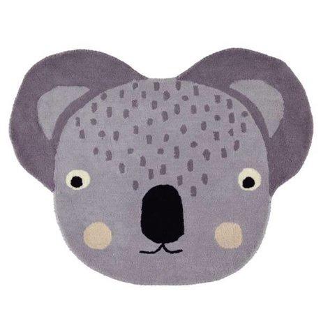OYOY Alfombra Koala algodón gris 100x85cm.