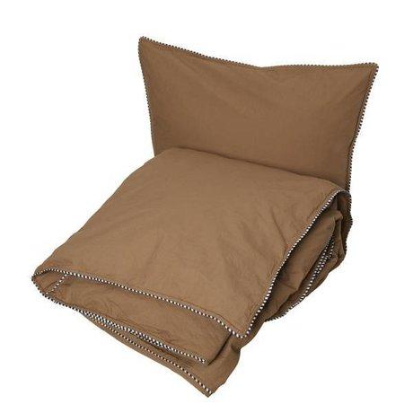 OYOY Housse de couette Haikan extra longueur caoutchouc brun 60x63-140x2200cm