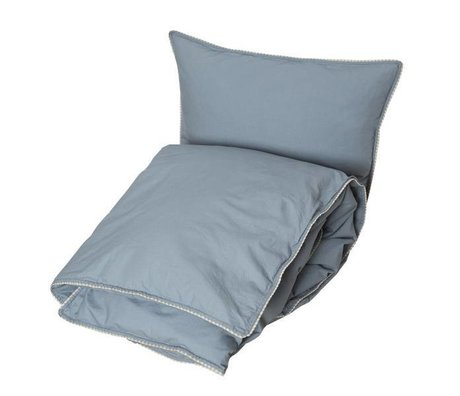 OYOY Funda nórdica Haikan longitud extra azul gris 60x63-140x2200cm