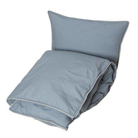 OYOY Housse de couette Haikan extra longueur bleu gris 60x63-140x2200cm
