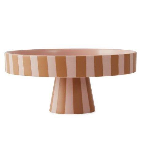 OYOY Vassoio Toppu in ceramica color caramello 9x20cm