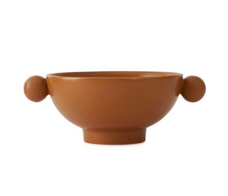 OYOY Ciotola in ceramica marrone caramello inca 18x14,5x7cm