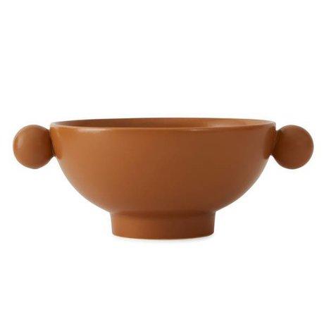 OYOY Inca caramel brown ceramic bowl 18x14,5x7cm
