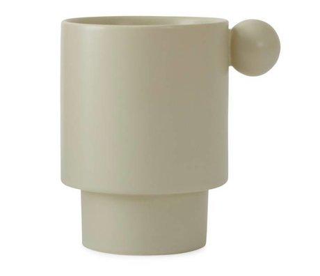OYOY Becher Inka creme-weiß aus Keramik 7,5x10x10x10,5cm